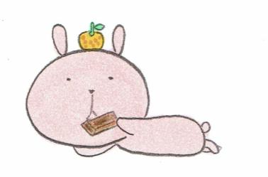 お菓子を食べるウサギ