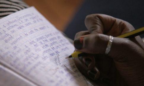 ノートを書いているところ