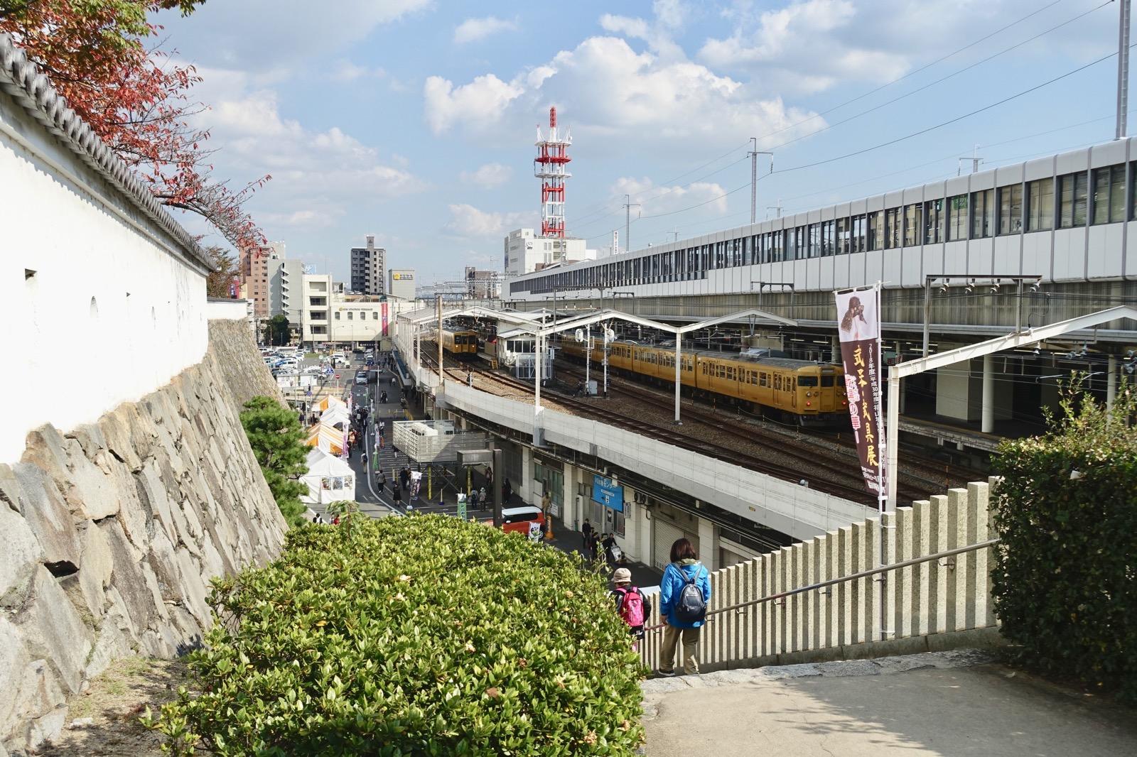 福山城から見た福山駅