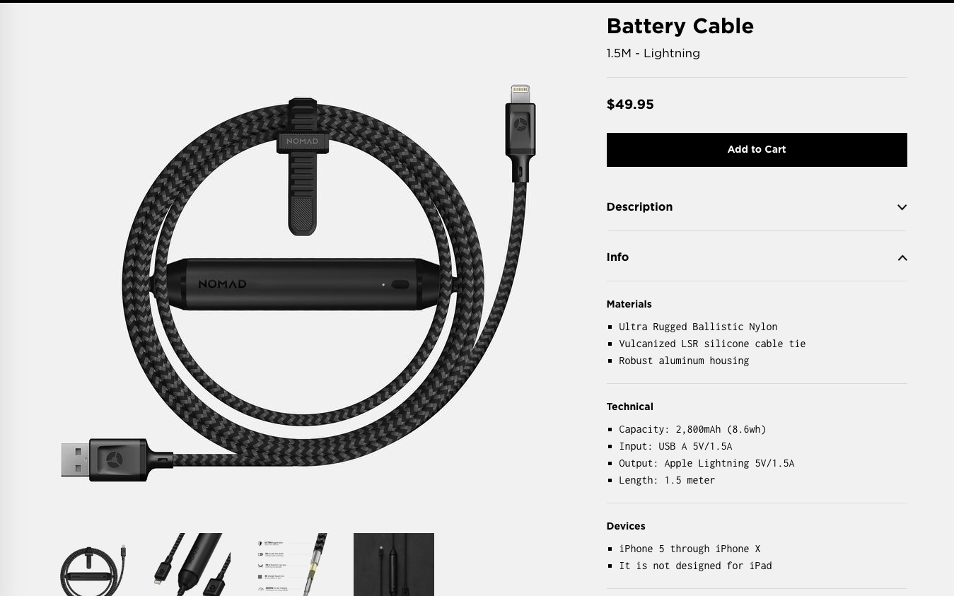 NOMADのBattery Cable