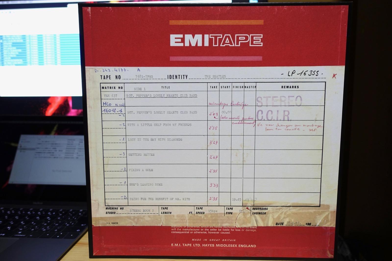 マスターテープの箱 Beatles