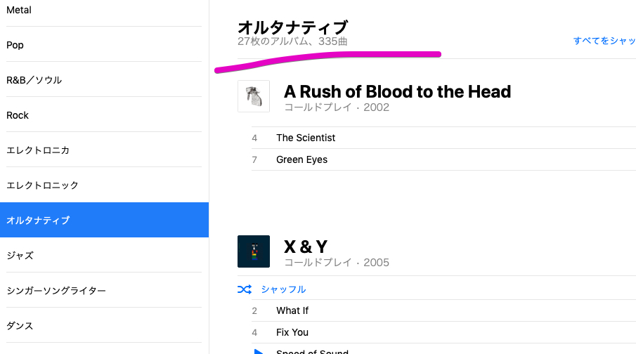 Apple Musicのジャンル分け
